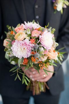pastel wedding bouquet by Moda Floral And Event Design