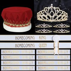 Our stunning Majestic Gold Homecoming Coronation Set comes with everything you need to crown your royalty right, from the King and Queen to members of the court. Prom King And Queen, Queens Tiaras, Homecoming Queen, Kings Crown, Crowns, Royalty, White Gold, Royals, Crown