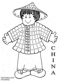 Chinese child coloring page Around The World Theme, Celebration Around The World, Kids Around The World, People Of The World, Colouring Pages, Adult Coloring Pages, Coloring Sheets, Coloring Books, Preschool Themes