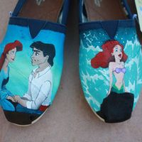 Little Mermaid Prince Eric and Ariel Custom Acrylic Painting for Toms Shoes - I Want!!