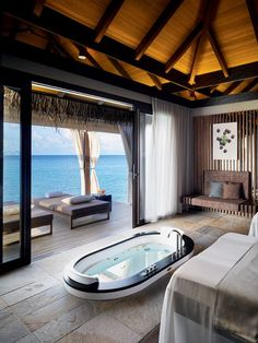 Each luxury resort in the Maldives has an impressive spa, but the facility at Velaa Private Island is special. One of only four My Blend by Clarins spas worldwide, it offers finessed treatments using products that are matched with clients' skin types. Spa Luxe, Luxury Spa, Luxury Yachts, Luxury Travel, Luxury Hotels, Luxury Decor, Modern Luxury, Best Places To Travel, Vacation Places