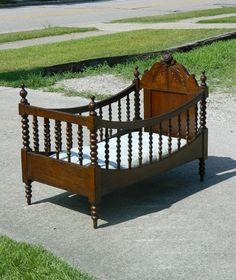 Ginny Lind Walnut Victorian Baby Bed/Crib circa 1870's
