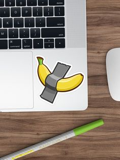 'This Is Art - Taped Banana' Sticker by manfex Banana Sticker, Museum, Stickers, Fruit, Collection, Museums, Decals
