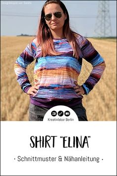 "Neues Schnittmuster: Shirt ""Elina"" - Kreativlabor Berlin Raglan Shirts, Pullover, Shell Tops, Kleding, Sweaters, Sweater"