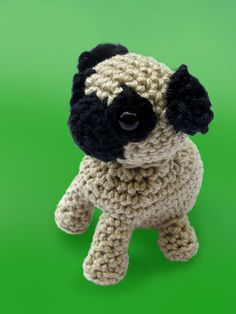 This adorable crochet Pug is waiting to be adopted and carried everywhere with you. This cute little puppy makes a wonderful best friend for children, adults and dog lovers. - Crocheted using a 100% c