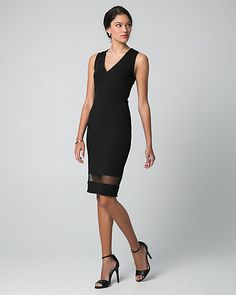 Crêpe-Like Knit V-Neck Dress - A V-neck accents the bust of a classic knit dress, while a mesh panel at the hemline accentuates its sleek, fitted silhouette.
