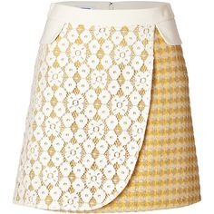 MOSCHINO CHEAP AND CHIC Mixed-Media Skirt in Yellow (1.005 RON) ❤ liked on Polyvore featuring skirts, saias, lace a line skirt, tartan plaid skirt, lace skirt, yellow plaid skirt and yellow lace skirt