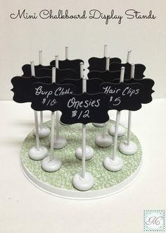 Mini Chalkboard Display Stands (wood pieces - covered in chalkboard spray paint - are from Pick Your Plum)