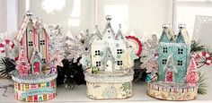 Vintage Christmas village. Tutorial found at Ally Scraps the blog. Adorable!! Creations by Linda Albrecht.