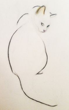 ARTFINDER: Cat Looking Over Her Shoulder by Kellas Campbell - I used charcoal and pastel pencils to draw my cat in this particularly sweet pose.  I use few lines, since simplicity seems to best suit her elegance.
