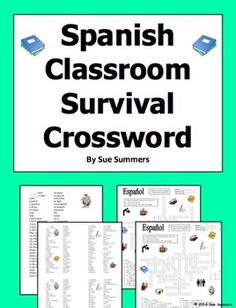 Spanish Classroom Survival Crossword Puzzle, Vocabulary, and Image IDs by Sue Summers - These materials contain words and phrases that will help students start communicating confidently in Spanish in the classroom. Included are words and phrases for asking permission and communicating needs and feelings.