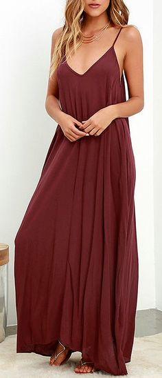 Visions of meadows, soft wind, and cattails are brought to mind by the Yours Tule Burgundy Maxi Dress! This elegantly simple Boho maxi is composed of lovely and lightweight woven fabric in a deep, burgundy hue. A relaxed-fit bodice falls from adjustable spaghetti straps and V neck. #lovelulus