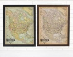 NEW Custom Vintage North America Pushpin Maps