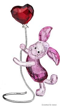 Swarovski Crystal Disney Piglet  Swarovski Disney Piglet from the Swarovski Disney Winnie the Pooh Collection. Little Piglet is holding a Light Siam Satin crystal colored heart balloon atop a silver tone wire. The exciting Rosaline and Rose Crystal color that she is created in, fits her playful, dynamic and adorable personality. As Winnie the Pooh's friend, she pairs up perfectly with the Swarovski Winnie the Pooh. What an adorable and colorful addition to your collection.