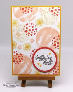 Geburtstagskarte Circle Celebration – mit Produkten von Stampin' Up! Tic Tac Toe, Greeting Cards Handmade, Stampin Up Cards, Card Making, Paper Crafts, Scrapbook, Celebrities, Box, Mini
