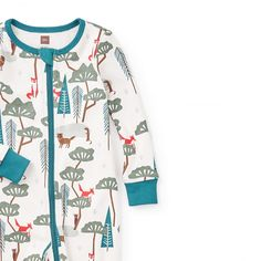 Yoisho Footed Pajamas | Yoisho means relax in Japanese. Slumber comes easily in these whimsically woodsy pajamas.
