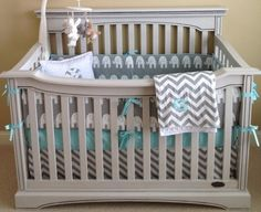 2 Piece Custom Nursery Crib Bedding Set...Grey and White Elephant and Chevron...Crib Skirt and Bumper Set. $235.00, via Etsy. by sophia