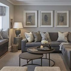 Grey Living Room Furniture, Living Room Decor Colors Grey, Living Room Neutral, Grey Couch Decor, Gray Living Room Walls, Living Room Wall Art, Beige And Grey Living Room, Contemporary Living Room Decor Ideas, Loving Room Decor