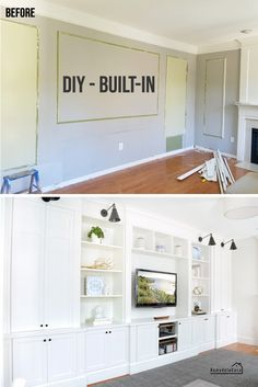 Family Room Built-In: The Tools That Made it Easier. DIY - Built-in entertainment unit in family room DIY - Built-in entertainment center - Before and After and tools used. Family Room Decorating, Family Room Design, Basement Family Rooms, Family Room Walls, Family Room Furniture, Living Room Built Ins, Living Room Built In Cabinets, Storage In Living Room, Diy Living Room