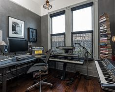 Inspiring Home Recording Studio Design: Home Recording Studio Design With Hardwood Floor And Double Windows Also Dark Grey Wall ~ dropddesign.com Decorating Inspiration