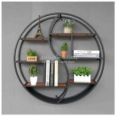 Best Seller Lil Round Wall-Mounted Shelves Wall Mount Retro Four-Tier Iron Shelf Floating Unit Frame Wall Decorative Shelves (Color : Black, Size : on-line - Topofferideas - Decoration Tips Decor, Wall Mounted Shelves, Shelves, Wall Decor, Frames On Wall, Decorating Shelves, Iron Furniture, Iron Shelf, Iron Decor