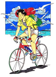 Illustration: Donguri Kyouwakoku takes us back to the future with his clean, retro style Psychedelic Art, Comic Kunst, Comic Art, Vaporwave, Comics Illustration, Old Anime, Bike Art, Character Design References, Beach Art