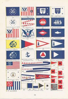 Flags, United States Government, Vintage Illustration, World War I Era, 1917. via Etsy.
