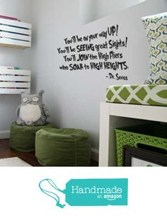 "Seuss Quotes Vinyl Wall Decal, Dr Seuss: ""You'll Be On Your Way Up"" Decoration Sticker for Children's Room, Kids Playroom, Baby Nursery, School Classroom, Preschool, Day Care from CustomVinylDecor https://www.amazon.com/dp/B01AN7A8S8/ref=hnd_sw_r_pi_dp_QHV4ybZGQJZYH #handmadeatamazon"