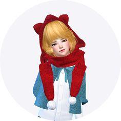 SIMS4 marigold: child_cat hood scarf_unisex_고양이 귀 달린 후드 목도리_남녀 어린이 목도리