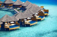 Looking for a place to relax, rejuvenate and realign? I will definitely be considering this for the near future.... Maldives Water Villas on the Indian and Arabian Sea