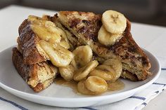 Bananas Foster french toast. I made this with homemade french bread and it was DIVINE.