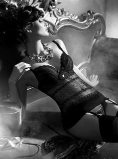 Lingerie, black and white picture