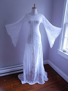 Vintage 1960s 1970s Sheer White Crochet LACE  Angel Bell by atomix, $140.00