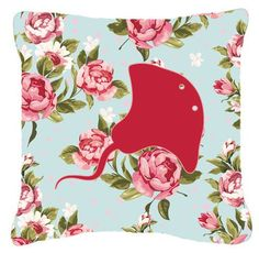 Stingray Shabby Elegance Blue Roses Indoor/Outdoor Throw Pillow