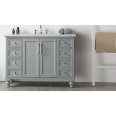 Legion Furniture Quartz Top 48 Inch Cool Grey Single Bathroom Vanity  (WH7548 CG), Size Single Vanities