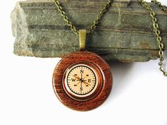 Compass Necklace Repurposed Button Pendant Mesquite by Hendywood, $22.00