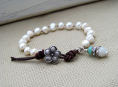 Knotted Pearl Bracelet Rustic Boho Chic Leather by GlowCreek, $34.00