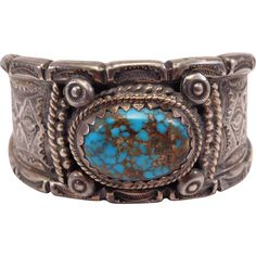 Exceptional Signed Navajo Silver & Turquoise Stamped Cuff Weighs Over 7…