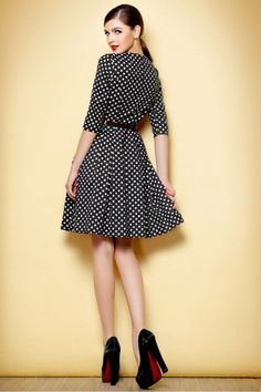 Half-Sleeve #dress #squares #blackandwhite