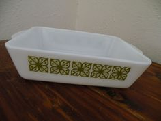 #Vtg Rectangle #Pyrex 2 Handle #Casserole Baking Pan #SquareFlower #Verde Dish EXC