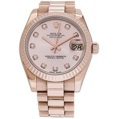 Pre-owned Rolex Oyster Perpetual Datejust 31 ($23,560) ❤ liked on Polyvore featuring jewelry, watches, gold, 18k jewelry, 18k watches, rolex, rose jewellery and rose jewelry
