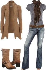#fall #outfits / Cardigan + Knit Scarf