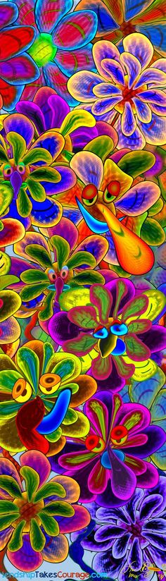 Psychedelic pictures, smiling flowers drawings from the second story of Friendship Takes Courage. Rainbow Colors, Vibrant Colors, Colorful, World Of Color, Psychedelic Art, Fractal Art, Unique Art, Color Splash, Amazing Art
