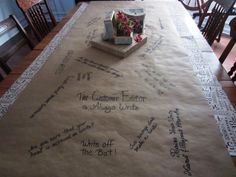 THIS PARTY TABLE COVERING IS SO EASY TO DO....AND IT MAKES YOUR TABLE COMPLETELY CUSTOM-MADE FOR YOUR PARTY. USE IT AT A CHILDREN'S PARTY AND LET THE CHILDREN DECORATE IT...OR ASK ADULTS TO DRAW OR WRITE...