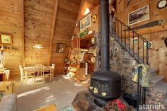 Knotty pine interior is a must in Lake Tahoe Cabins.