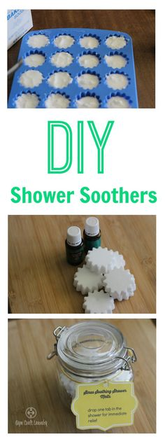 """Homemade copycat """"Vi Homemade copycat """"Vicks"""" Shower Tablets recipe w/ an unexpected oil! I use an oil that I have not seen on many recipes but has huge benefits. Tablet Recipe, Homemade Essential Oils, Shower Steamers, Diy Shower, Shower Ideas, Baby Massage, Mason Jar Crafts, Homemade Gifts, Homemade Products"""