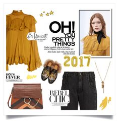 """""""brighten your new year"""" by hayleygp ❤ liked on Polyvore featuring Chloé, Rachel Comey, Gucci, yellow, loafers, gucci, chloe and nye"""