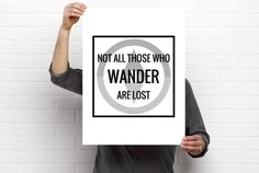 Printable Poster, Not All Those Who Wander Are Lost, Quote, Compass, Typography, Travel, Minimalist, High-Quality PDF, Digital Download by BrightAndBonny on Etsy