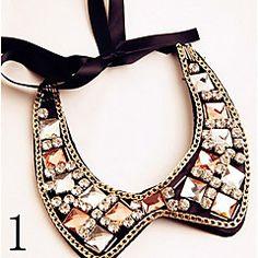 doce (colar de pingente em forma) de vidro multicolor com torque de tecido preto (1 pc)
