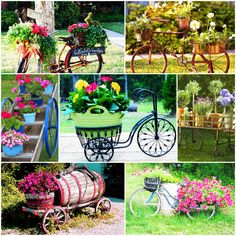 En yaratıcı saksı fikirleri Bonblog'tan! Bahçenize yerleştirip, rengarenk çiçekler ile süsleyeceğeğiniz eski bir bisiklet veya bir el arabası evinize bir banliyö havası vererek içinize huzur getirecektir.
